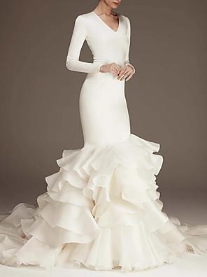 baratos Vestidos de Casamento-Sereia Vestidos de noiva Decote V Cauda Escova Cetim Manga Longa Tamanhos Grandes Modern Elegant com Babados em Cascata 2020
