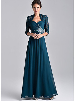 cheap Mother of the Bride Dresses-Two Piece A-Line Mother of the Bride Dress Elegant Spaghetti Strap Floor Length Chiffon Lace 3/4 Length Sleeve with Embroidery 2020