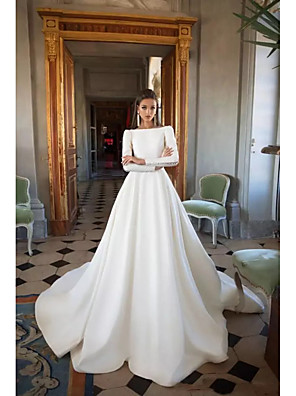 cheap Wedding Dresses-A-Line Wedding Dresses Bateau Neck Court Train Polyester Long Sleeve Simple Backless Elegant with 2020