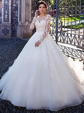 cheap Wedding Dresses-Ball Gown Wedding Dresses Jewel Neck Court Train Lace Tulle Long Sleeve Plus Size Illusion Sleeve with Lace Appliques 2020