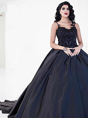 cheap Prom Dresses-Ball Gown Wedding Dresses Sweetheart Neckline Court Train Lace Satin Spaghetti Strap Black with Draping Appliques 2020
