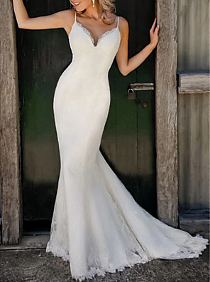 cheap Special Occasion Dresses-Mermaid / Trumpet Wedding Dresses V Neck Sweep / Brush Train Lace Satin Spaghetti Strap Plus Size with 2020