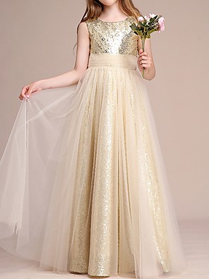 cheap Junior Bridesmaid Dresses-A-Line Round Neck Floor Length Tulle / Sequined Junior Bridesmaid Dress with Ruching