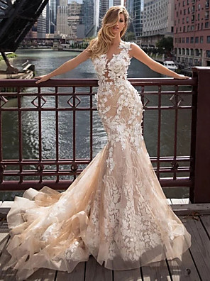 cheap Evening Dresses-Mermaid / Trumpet Wedding Dresses Jewel Neck Chapel Train Lace Tulle Regular Straps Illusion Detail Backless with Appliques 2020