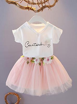 cheap Girls' Dresses-Kids Girls' Basic School Daily Wear Floral Layered Mesh Short Sleeve Regular Regular Clothing Set White