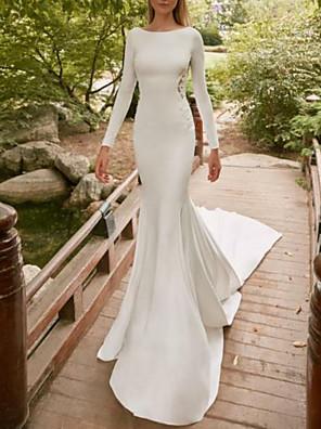 economico Abiti da sposa-A sirena Abiti da sposa Con decorazione gioiello Strascico di corte Raso Manica lunga con Inserti di pizzo 2020