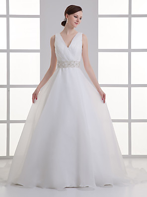 cheap Wedding Dresses-A-Line Wedding Dresses V Neck Court Train Organza Satin Regular Straps with Buttons Ruched Embroidery 2020