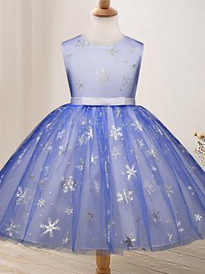 cheap Girls' Dresses-Kids Girls' Geometric Dress Blue