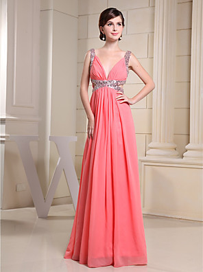 cheap Wedding Dresses-A-Line Sparkle Engagement Formal Evening Dress V Neck Sleeveless Floor Length Chiffon Sequined with Pleats Sequin 2020