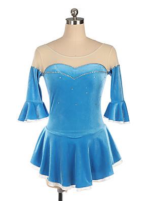 cheap Prom Dresses-Figure Skating Leotard / Onesie Ruching Crystals / Rhinestones Women's Girls' Training Performance Short Sleeve Natural Velvet