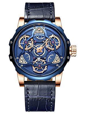 cheap Sport Watches-MINI FOCUS Men's Dress Watch Japanese Quartz Stylish Skeleton Water Resistant / Waterproof Genuine Leather Black / Brown / Grey Analog - Golden+Black Black Blue One Year Battery Life