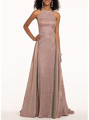 cheap Evening Dresses-A-Line Elegant Engagement Formal Evening Dress Halter Neck Sleeveless Sweep / Brush Train Polyester with Sash / Ribbon Beading 2020