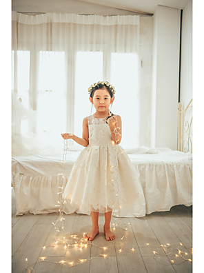 cheap Flower Girl Dresses-Ball Gown Tea Length Wedding / First Communion / Birthday Flower Girl Dresses - Lace / Tulle Sleeveless Jewel Neck with Lace