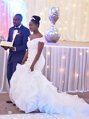 cheap Wedding Dresses-Mermaid / Trumpet Wedding Dresses Off Shoulder Chapel Train Lace Organza Short Sleeve Beautiful Back with Appliques 2020