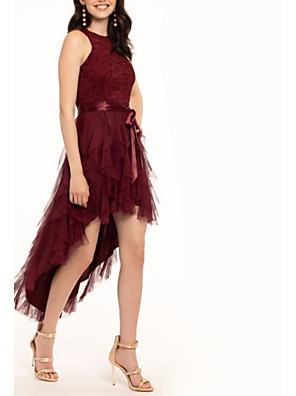cheap Special Occasion Dresses-A-Line Elegant Party Wear Cocktail Party Dress Jewel Neck Sleeveless Asymmetrical Lace Tulle with Sash / Ribbon Cascading Ruffles 2020