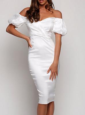 cheap Wedding Dresses-Sheath / Column Off Shoulder Knee Length Charmeuse Bridesmaid Dress with Ruching