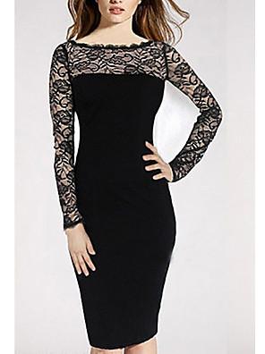 abordables Robes Femme-Femme Robe Fourreau Robe Midi Manches Longues Elégant Couleur Pleine Noir S M L XL