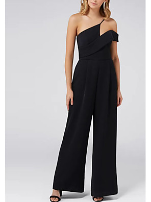cheap Evening Dresses-Jumpsuits Black Engagement Formal Evening Dress One Shoulder Sleeveless Ankle Length Satin with Pleats 2020
