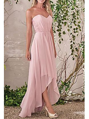 cheap Bridesmaid Dresses-A-Line Sweetheart Neckline Asymmetrical Chiffon Bridesmaid Dress with Tier / Ruching