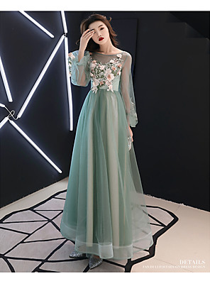 cheap Prom Dresses-A-Line Elegant Wedding Guest Prom Formal Evening Dress Boat Neck Long Sleeve Floor Length Satin Tulle with Appliques 2020