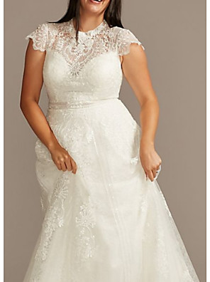 cheap Wedding Dresses-A-Line Wedding Dresses Jewel Neck Sweep / Brush Train Lace Charmeuse Short Sleeve Formal Plus Size with Draping 2020