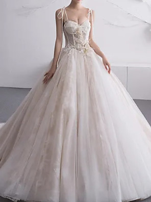 cheap Wedding Dresses-A-Line Wedding Dresses Sweetheart Neckline Court Train Lace Tulle Charmeuse Spaghetti Strap Formal Plus Size with Lace Insert 2020