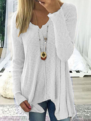 cheap Women's Sweaters-Women's Casual Solid Colored Long Sleeve Long Pullover Sweater Jumper, Deep V Spring / Fall Black / White / Blushing Pink S / M / L/StayCation