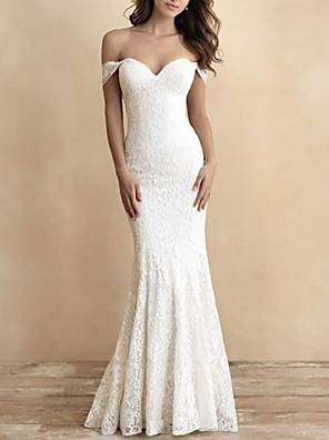cheap Wedding Dresses-Mermaid / Trumpet Wedding Dresses Off Shoulder Sweep / Brush Train Lace Short Sleeve Romantic Plus Size with 2020