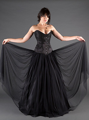 cheap Evening Dresses-A-Line Wedding Dresses Sweetheart Neckline Floor Length Lace Satin Tulle Strapless Black with Beading Draping Appliques 2020