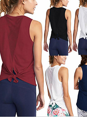 cheap Gymnastics-Women's Yoga Top Patchwork Fashion Black White Burgundy Cyan Mesh Running Fitness Gym Workout Tee / T-shirt Sleeveless Sport Activewear Lightweight Quick Dry Comfortable Stretchy Loose