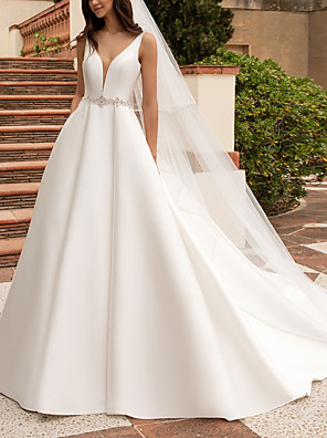 cheap Wedding Dresses-A-Line Wedding Dresses V Neck Court Train Satin Regular Straps Plus Size with Sashes / Ribbons Buttons 2020