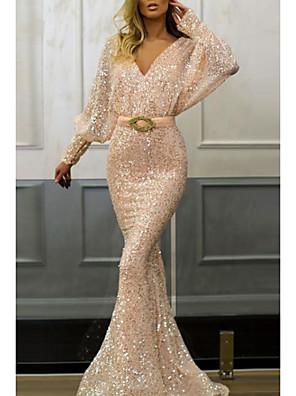cheap Evening Dresses-Mermaid / Trumpet Sparkle Pink Engagement Formal Evening Dress V Neck Long Sleeve Sweep / Brush Train Sequined with Sash / Ribbon Sequin 2020