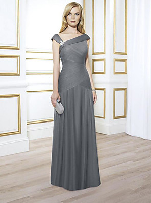 cheap Special Occasion Dresses-A-Line Elegant Engagement Formal Evening Dress V Neck Sleeveless Floor Length Chiffon with Pleats Ruched Crystals 2020