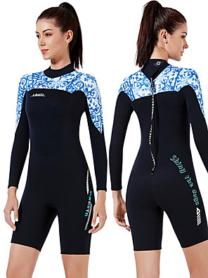 cheap Wetsuits, Diving Suits & Rash Guard Shirts-Dive&Sail Women's Shorty Wetsuit 3mm CR Neoprene Diving Suit Thermal / Warm Anatomic Design High Elasticity Long Sleeve Back Zip - Diving Water Sports Patchwork Autumn / Fall Spring Winter
