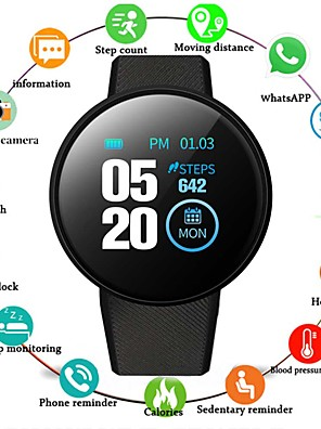 cheap Smart Watches-D18 Unisex Smartwatch Android iOS Bluetooth Touch Screen Heart Rate Monitor Sports ECG+PPG Pedometer Call Reminder Sleep Tracker Sedentary Reminder