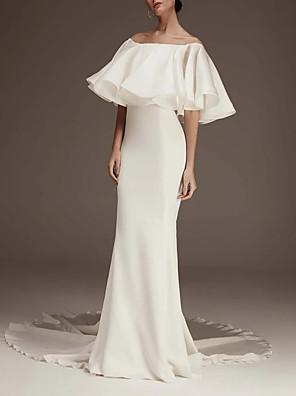 cheap Evening Dresses-Sheath / Column Wedding Dresses Jewel Neck Court Train Satin Half Sleeve Romantic Plus Size with Ruffles 2020