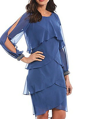 cheap Evening Dresses-A-Line Mother of the Bride Dress Elegant Jewel Neck Knee Length Chiffon Long Sleeve with Tier Cascading Ruffles 2020
