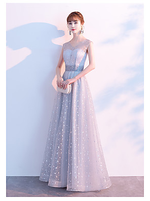 cheap Evening Dresses-A-Line Elegant Wedding Guest Prom Formal Evening Dress Jewel Neck Sleeveless Floor Length Satin Tulle with 2020