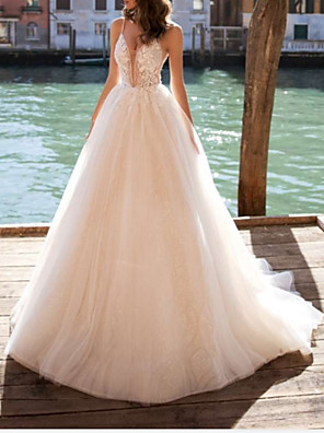 cheap Wedding Dresses-A-Line Wedding Dresses V Neck Court Train Tulle Charmeuse Spaghetti Strap Boho See-Through with Draping Appliques 2020