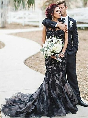 cheap Prom Dresses-Mermaid / Trumpet Wedding Dresses Jewel Neck Court Train Lace Satin Tulle Regular Straps Sexy Black Modern with Appliques 2020