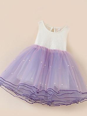 cheap Girls' Dresses-Kids Girls' Solid Colored Sleeveless Above Knee Dress Purple