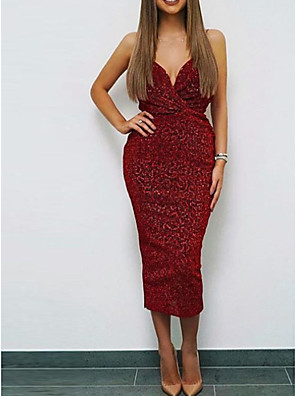 cheap Cocktail Dresses-Sheath / Column Elegant Party Wear Cocktail Party Dress Spaghetti Strap Sleeveless Tea Length Sequined with Sequin 2020