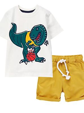 cheap Boys' Clothing Sets-Kids Boys' Basic Cartoon Short Sleeve Clothing Set White