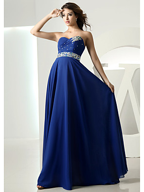 cheap Evening Dresses-A-Line Empire Blue Wedding Guest Formal Evening Dress Sweetheart Neckline Sleeveless Floor Length Chiffon with Crystals 2020