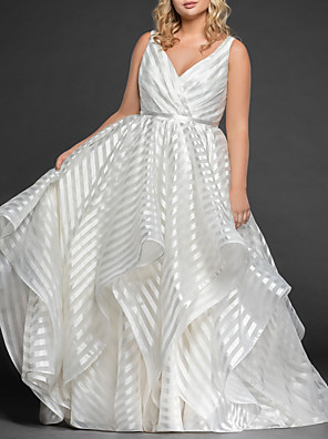 cheap Bridesmaid Dresses-A-Line Wedding Dresses V Neck Sweep / Brush Train Organza Regular Straps Romantic Plus Size with Draping 2020