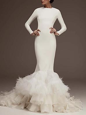 cheap Wedding Dresses-Mermaid / Trumpet Wedding Dresses Jewel Neck Sweep / Brush Train Satin Long Sleeve Plus Size with Feathers / Fur Cascading Ruffles 2020