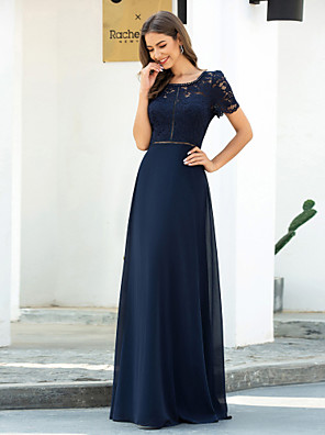 cheap Evening Dresses-Sheath / Column Elegant Blue Wedding Guest Formal Evening Dress Scoop Neck Short Sleeve Floor Length Chiffon Lace with Lace Insert 2020