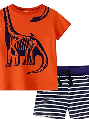cheap Girls' Dresses-Kids Boys' Basic Cartoon Short Sleeve Clothing Set Orange