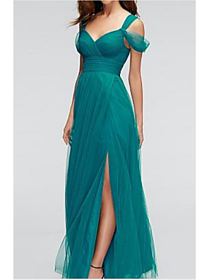 cheap Prom Dresses-A-Line Sweetheart Neckline Floor Length Chiffon Bridesmaid Dress with Split Front