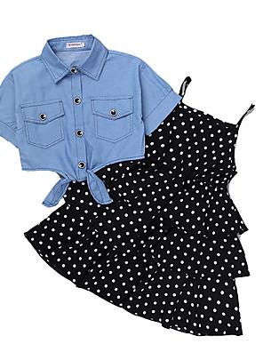 cheap Girls' Dresses-Kids Girls' Basic Polka Dot Short Sleeve Clothing Set Black